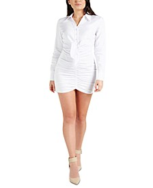 Ruched Long-Sleeve Shirtdress