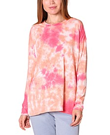Juniors' Oversized Tie-Dyed Top