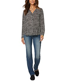 Amelia Printed V-Neck Blouse