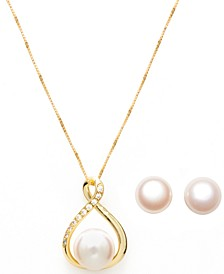 Cultured Freshwater (10-11mm) Pearl Pendant and Stud Set in 14k Gold over Sterling Silver.