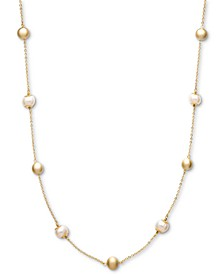 Cultured Freshwater Pearl (8mm) and Bead Station Necklace in 18k Gold over Sterling Silver