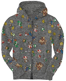 Big Boys Super Mario Aop Zip Fleece Hoody