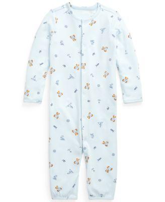 폴로 랄프로렌 Polo Ralph Lauren Baby Boys Polo Bear Cotton Coverall,Blue Multi