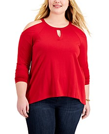 Plus Size Cold-Shoulder Keyhole Top