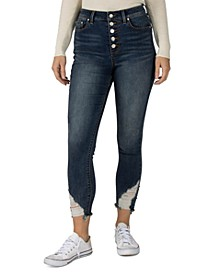 Juniors' High Rise Frayed Skinny Jeans