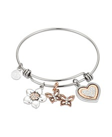 Crystal Heart Flower and Butterflies Adjustable Bangle Bracelet in Stainless Steel and Rose Gold Two-Tone Fine Silver Plated Charms