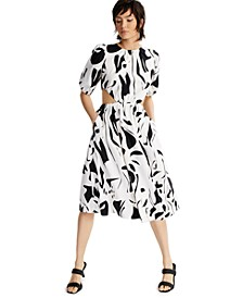 INC Printed Puff-Sleeve Cutout Dress, Created for Macy's