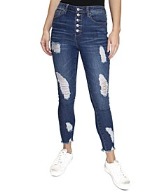 Crave Fame Juniors' Ripped High-Rise Skinny Jeans