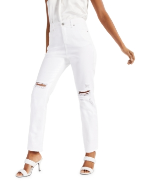 Inc International Concepts Straight jeans INC PETITE RIPPED STRAIGHT-LEG JEANS, CREATED FOR MACY'S
