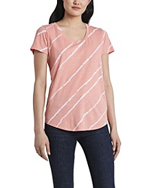 Women's Short Sleeve Tie Dye Stripe Scoop Neck Top