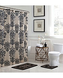 Reverly Damask Bathroom Shower Set, 15 Piece
