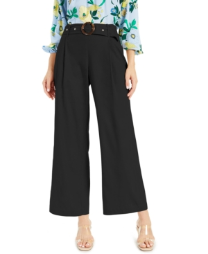 Inc International Concepts Inc Pleated Buckled Wide-leg Pants, Created For Macy's In Deep Black
