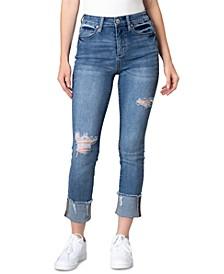 Juniors' Ripped High-Rise Slim Straight-Leg Jeans