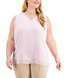 Plus Size Chiffon-Hem Top, Created for Macy's