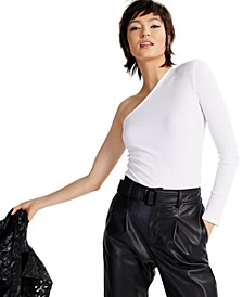 INC Ribbed One-Shoulder Top, Created for Macy's