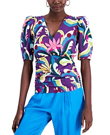 INC Cotton Printed Puff-Sleeve Top, Created for Macy's