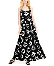 INC Printed Ruched-Waist Maxi Dress, Created for Macy's