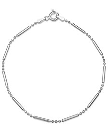 Polished Bar & Bead Link Bracelet in Sterling Silver, Created for Macys
