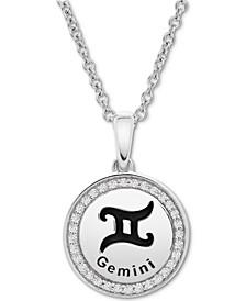 Diamond Gemini Zodiac Pendant Necklace (1/10 ct. t.w.) in Sterling Silver