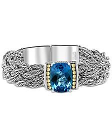 EFFY® Blue Topaz Woven Bracelet (11-3/4 ct. t.w.) in Sterling Silver & 18k Gold-Plate