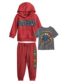 Little Boys Mario Brothers Hoodie with T-shirt and Fleece Pant Set, 3 Piece