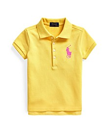Toddler Girls Big Pony Stretch Mesh Polo