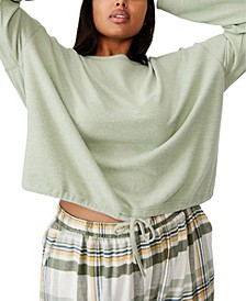 Trendy Plus Size Super Soft Draw Cord Crew Sweater