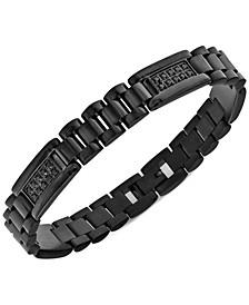 Men's Cubic Zirconia Cluster Link Bracelet in Black Ion-Plated Stainless Steel
