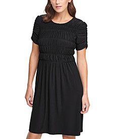 Ruched-Sleeve Dress