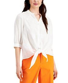 Petite Linen Tie-Hem Blouse, Created for Macy's