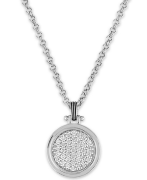 """White Sapphire Cluster 22"""" Pendant Necklace (1/10 ct. t.w.) in Sterling Silver"""