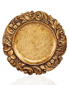 Jay Import Gold Wood Textured Charger Plate