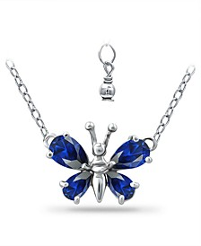 Simulated Blue Sapphire Butterfly Necklace