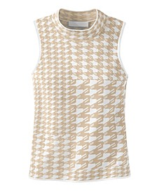 Women's Patterned Sleeveless Turtleneck Sweater