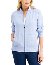 Petite French Terry Mock-Neck Jacket, Created for Macy's