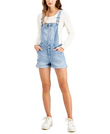 Juniors' Jean Short Overalls
