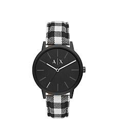 Men's Black Leather Strap Watch 42mm