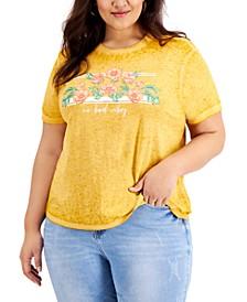 Trendy Plus Size No Bad Vibes Floral T-Shirt