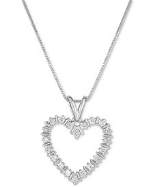 """Diamond Heart 18"""" Pendant Necklace (1/10 ct. t.w.) in Gold-Plated Sterling Silver, Rose Gold-Plated Sterling Silver or Sterling Silver"""
