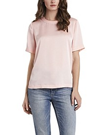 Women's Short Sleeve Hammer Satin Blouse