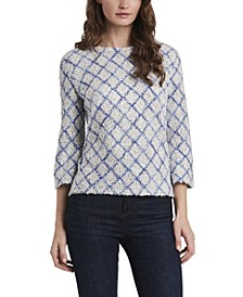 Women's Three Quarter Sleeve Diamond Plush Top
