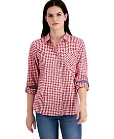 Cotton Gingham Roll-Tab Shirt