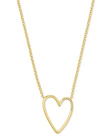 "14k Gold-Plated Cubic Zirconia Open Heart Pendant Necklace, 18"" + 2"" extender"