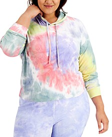 Plus Size Tie-Dyed Hooded Sweatshirt