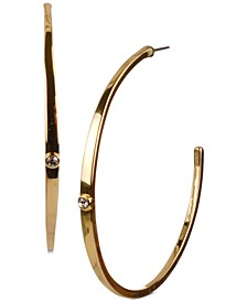 """Gold-Tone Large Pavé C-Hoop Earrings, 2.5"""""""