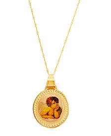 "Polished Angel Medallion on 18"" Chain in 14K Yellow Gold"