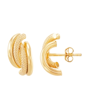 Polished Hollow 4 Row Curve J Hoop Stud Earrings in 10K Yellow Gold