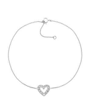 """Macy's Diamond Accent Heart Anklet In Sterling Silver, 9"""" + 1"""" Extender"""