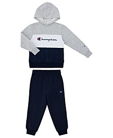 Little Boys High Density Script Fleece Jogger 2 Piece Set