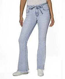 Juniors' High Rise Self Belted Frayed Hem Flare Jeans